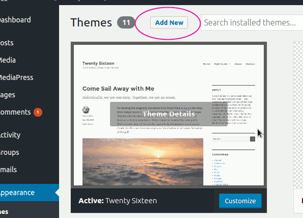 wordpress-theme-add-new-link