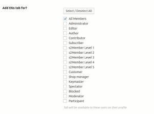 BuddyPress User Profile Tab Options