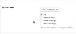 BuddyPress group Tab Options