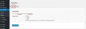 User profile tabs setting with BuddyBlog Pro