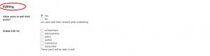User profile tab Posts Editing settings with BuddyBlog Pro