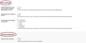 User profile tabs Misc settings