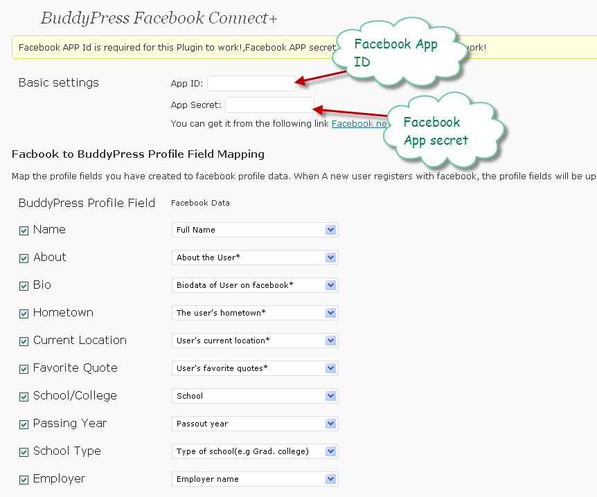 You will need to enter the Facebook App id and Facebook App secret for your