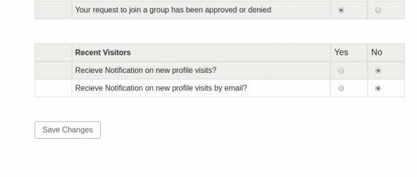 BuddyPress recent Visitors notification settings