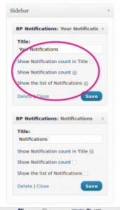 BuddyPress User Notifications Widget plugin