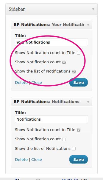 BuddyPress Notifications Widget