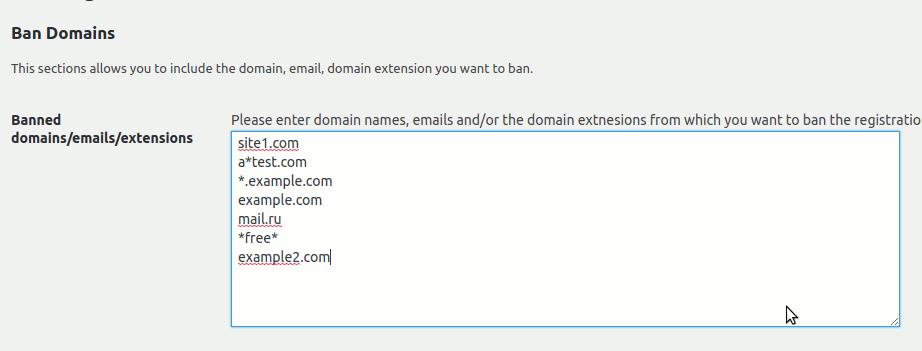 WordPress Ban Registration Domain • BuddyPress Plugins