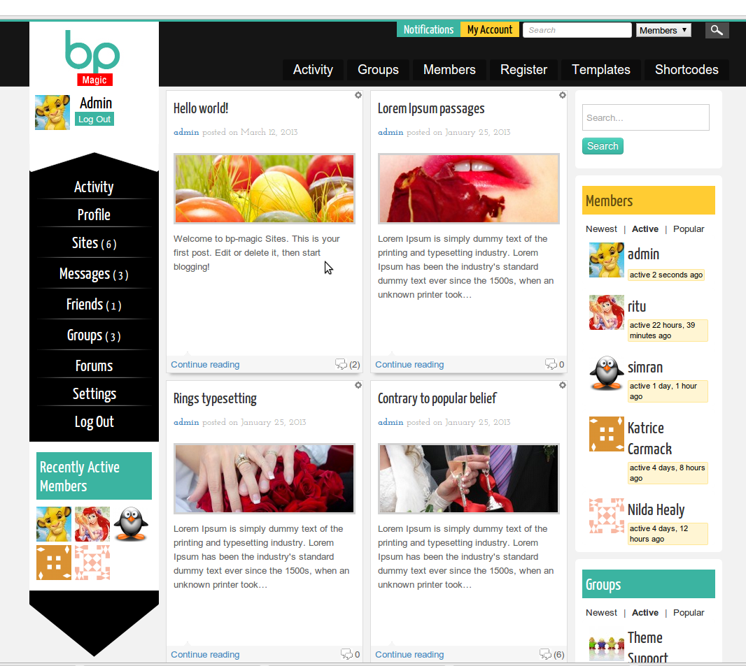 BP Magic theme for BuddyPress is freely available now • BuddyDev