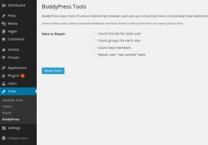 BuddyPress tools Menu