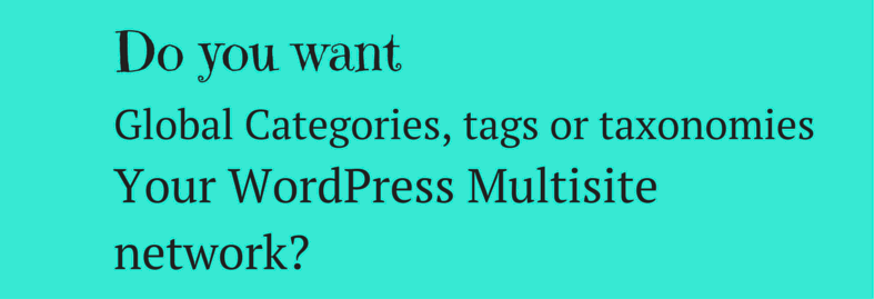 Do you want global Categories, tags or taxonomies across your WordPress Multisite network?