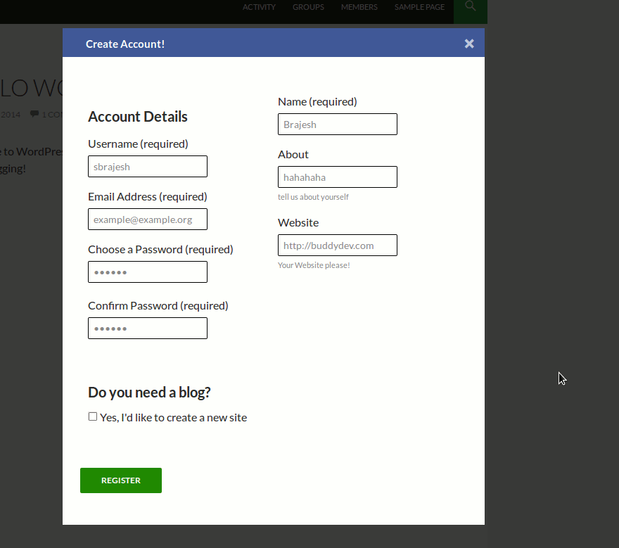 BuddyPress Ajax Registration Plugin is responsive now • BuddyDev