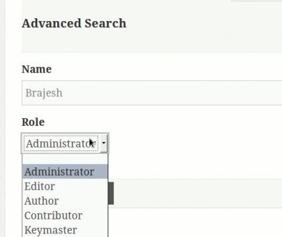 Advance search form