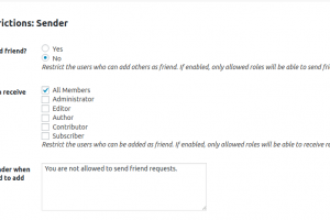 BuddyPress Friendship Settings for Who Can add others as friend