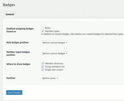 Admin settings screen