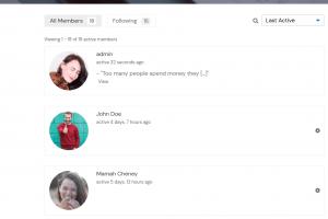 BuddyPress Members directory list layout
